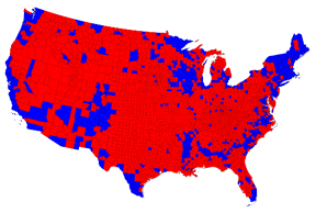 2012 electoral map by county