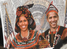 barack and michelle in African dress